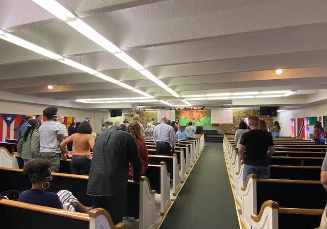 During prayer service at OBBC